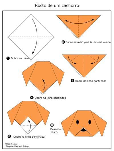Diagrama de Origami de Rosto de Cachorro
