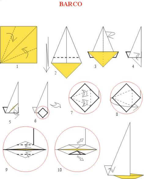 Origami de Barco a vela