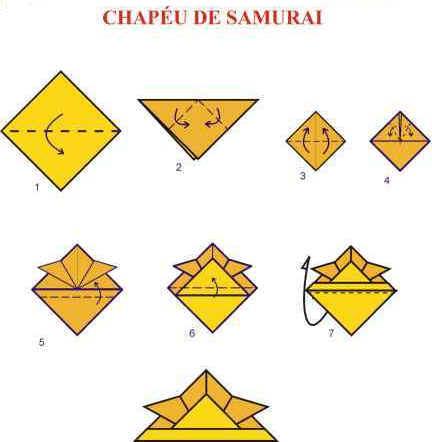 Origami de Chapéu de Samurai