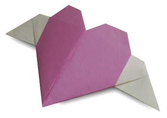 Origami de Coração com Asas