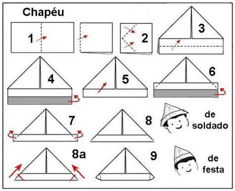 Origami de chapéu de soldado e de festa